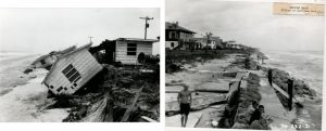Typical storm damage from the 1962 nor'easter and Hurricane Dora, 1964.